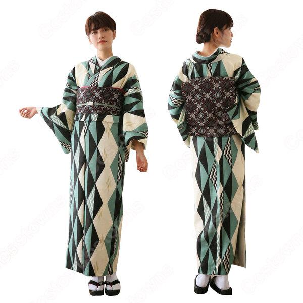 女性浴衣 和服 着物 日本伝統服 舞台衣装 コスプレ衣装 コスチューム 写真撮影 演出服 菱柄元の画像