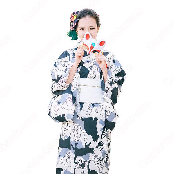 女性浴衣 和服 着物 日本伝統服 舞台衣装 コスプレ衣装 コスチューム 写真撮影 演出服 猫柄元の画像