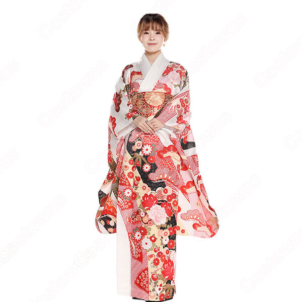 女性浴衣 和服 着物 日本伝統服 舞台衣装 コスプレ衣装 コスチューム 写真撮影 演出服 松文柄 四季の花草 振袖元の画像