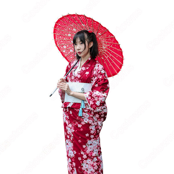 女性浴衣 和服 着物 日本伝統服 舞台衣装 コスプレ衣装 コスチューム 写真撮影 演出服 桜柄 COT-A00563元の画像