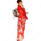 女性浴衣 和服 着物 日本伝統服 舞台衣装 コスプレ衣装 コスチューム 写真撮影 演出服 花柄 赤振袖