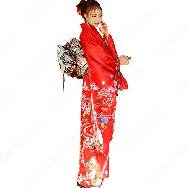 女性浴衣 和服 着物 日本伝統服 舞台衣装 コスプレ衣装 コスチューム 写真撮影 演出服 花柄 赤振袖元の画像