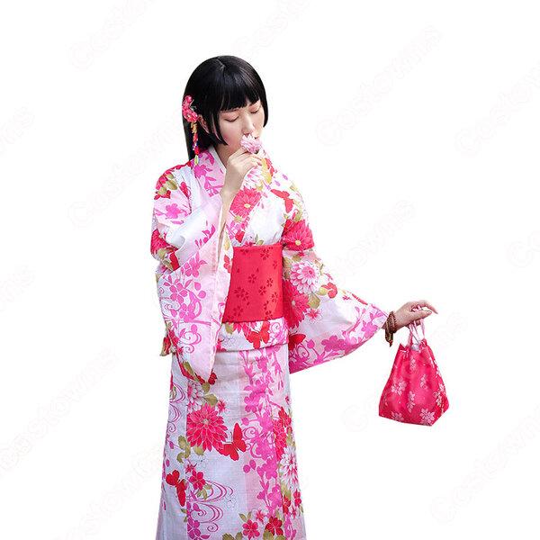 女性浴衣 和服 着物 日本伝統服 舞台衣装 コスプレ衣装 コスチューム 写真撮影 演出服 蝶蝶 菊柄 しだれ桜柄元の画像