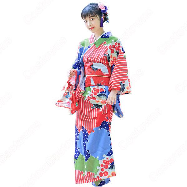 女性浴衣 和服 着物 日本伝統服 舞台衣装 コスプレ衣装 コスチューム 写真撮影 演出服 松梅柄元の画像