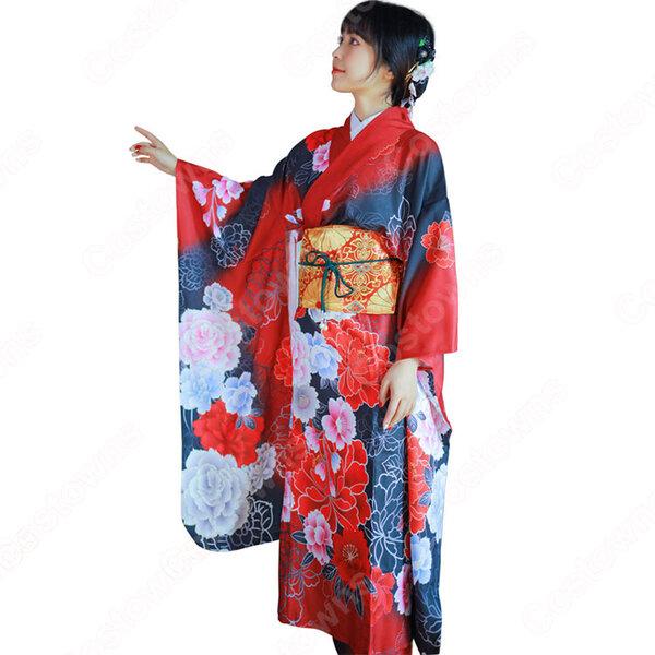 女性浴衣 和服 着物 日本伝統服 舞台衣装 コスプレ衣装 コスチューム 写真撮影 演出服 牡丹柄元の画像