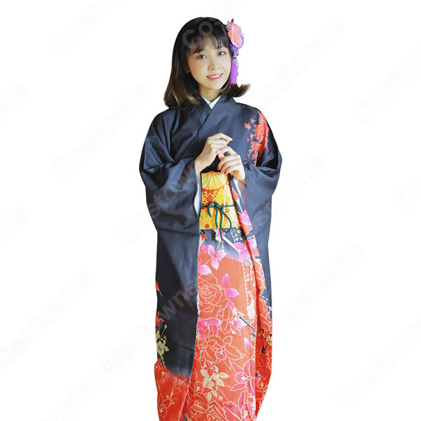 女性浴衣 和服 着物 日本伝統服 舞台衣装 コスプレ衣装 コスチューム 写真撮影 演出服 牡丹柄 振袖元の画像
