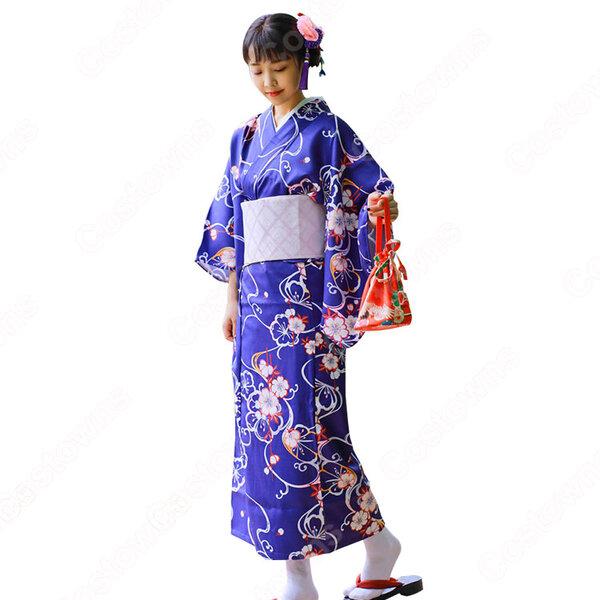 女性浴衣 和服 着物 日本伝統服 舞台衣装 コスプレ衣装 コスチューム 写真撮影 演出服 紺色 花柄元の画像