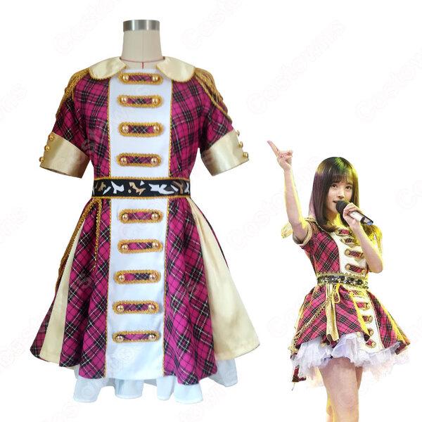 SNH48 打歌服 MV演出服 コスプレ衣装 アイドル衣装 赤チェックワンピース オーダメイド可元の画像