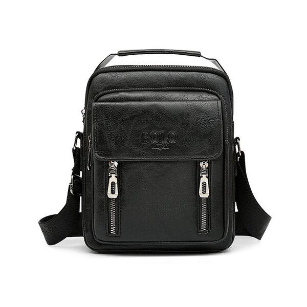 Whatna ショルダーバッグ メンズ 2way 斜め掛け 手提げ 厚手 皮革 レザー 縦型 小さめ メッセンジャーバッグ 通学 通勤バッグ hs- 1606元の画像