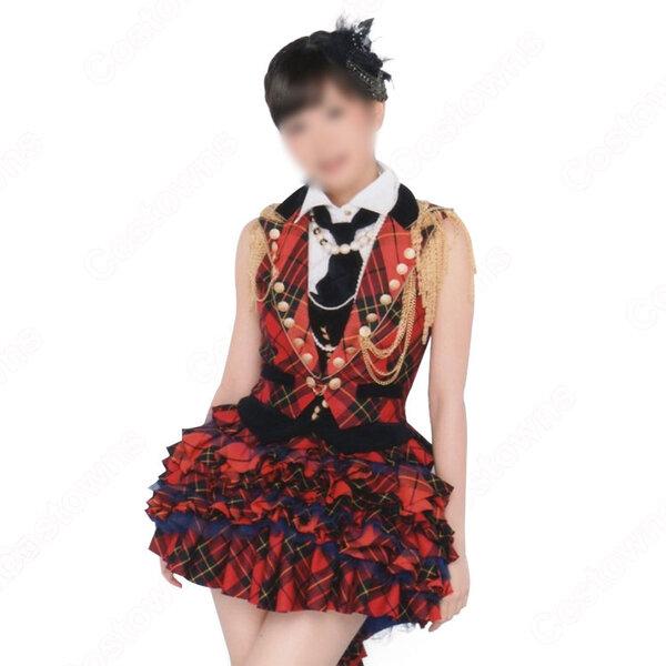 AKB48 「第62回NHK紅白歌合戦」 本番の衣装 演出服 ライブ衣装 コスプレ衣装 アイドル衣装 ステージ衣装 赤チェック柄衣装 オーダメイド可元の画像