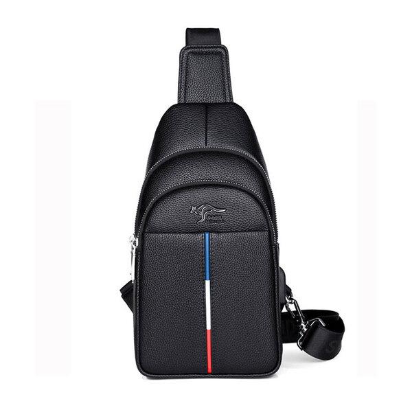 Whatna 革 斜めがけ ボディバッグ ワンショルダー メンズ USBポート 付き 左右付け替え可能 本 革 厚手 レザー ブラウン 黒S6085元の画像