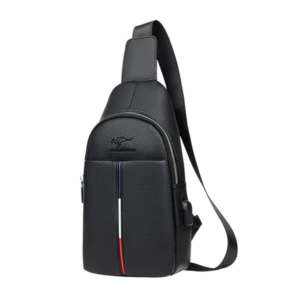 Whatna 牛革 斜めがけ ボディバッグ ワンショルダー メンズ USBポート 付き 左右付け替え可能 本 革 厚手 レザー ブラウン 黒ZP104元の画像