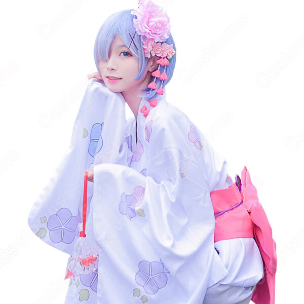 レム(リゼロ、㍕、Rem) 着物 コスプレ衣装 『Re:ゼロから始める異世界生活(りぜろからはじめるいせかいせいかつ)』の登場人物の仮装 コスチューム元の画像