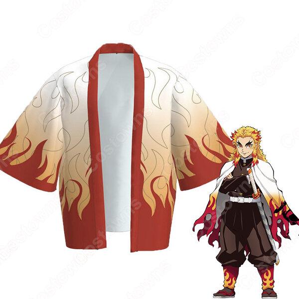 煉獄杏寿郎 (れんごくきょうじゅろう) 羽織 フリーサイズ、大人用、子供用 2サイズ コスプレ衣装 『鬼滅の刃』の登場人物の仮装 コスチューム元の画像