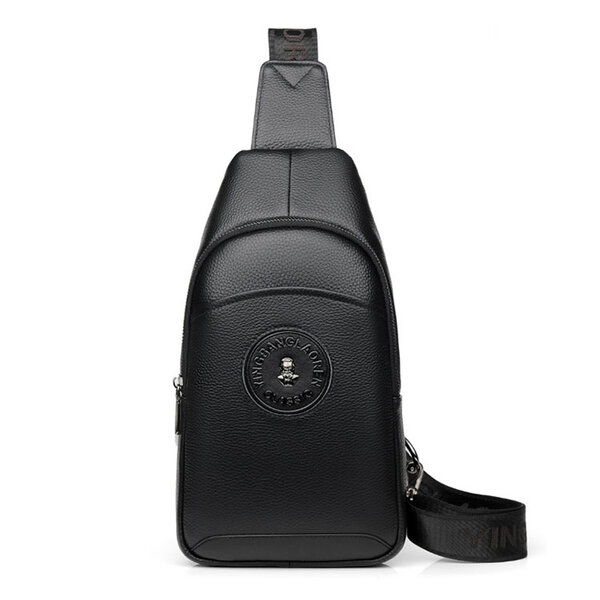 Whatna 牛革 斜めがけ ボディバッグ ワンショルダー メンズ イヤホン穴付 左右付け替え可能 本 革 厚手 レザー ブラウン 黒L605元の画像