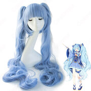 雪ミク コスプレ 高品質耐熱 ウィッグ ネット付き 可愛い 人気キャラ 青 かつら 小道具付き 変装用