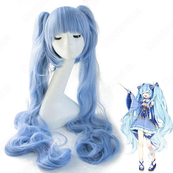 雪ミク コスプレ 高品質耐熱 ウィッグ ネット付き 可愛い 人気キャラ 青 かつら 小道具付き 変装用元の画像