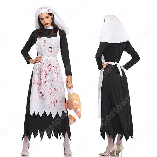 ハロウィン 修道女 コスプレ 衣装 吸血鬼 メイド服 コスチューム 仮装 舞台服 イベント パーティー元の画像
