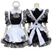 黒と白のメイド服 クラシック コスプレ 衣装 コスチューム 白襟 半袖 格子柄 コルセットメイド 仮装