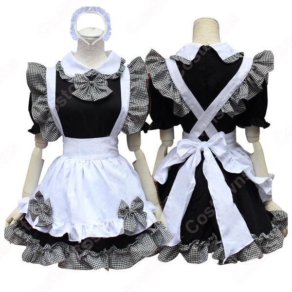 黒と白のメイド服 クラシック コスプレ 衣装 コスチューム 白襟 半袖 格子柄 コルセットメイド 仮装元の画像