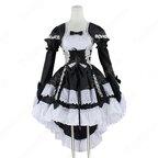 フレンチ 白黒 メイド服 コスチューム 袖が着脱可能 燕尾 ワンピース レディース コスプレ 衣装
