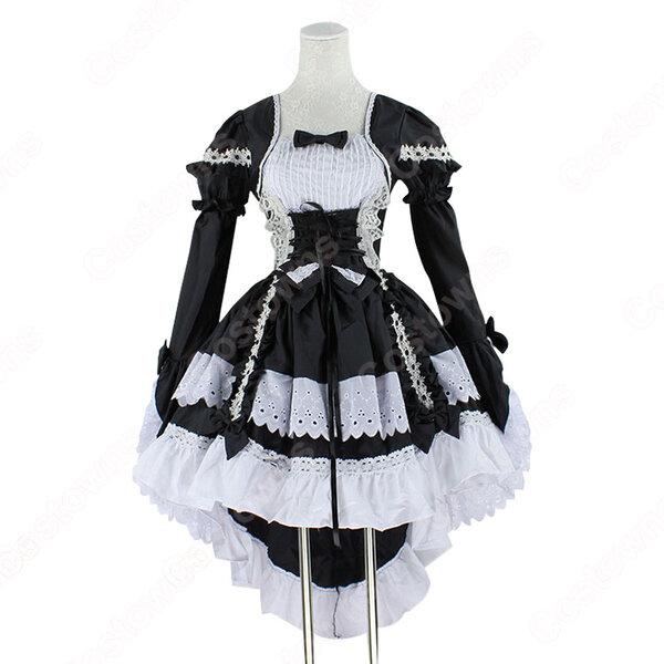 フレンチ 白黒 メイド服 コスチューム 袖が着脱可能 燕尾 ワンピース レディース コスプレ 衣装元の画像