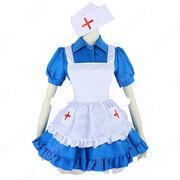 ナース風つきブルーメイド服 赤十字マークのナースキャップ 半袖 ワンピース 看護婦 コスプレ 衣装 コスチューム 仮装