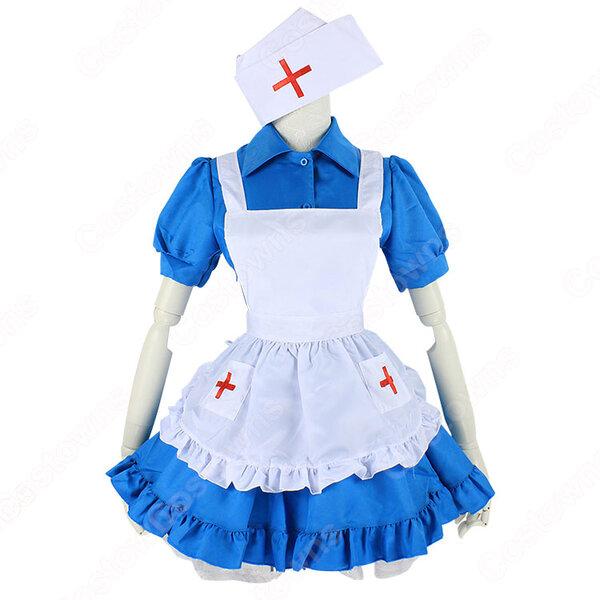 ナース風つきブルーメイド服 赤十字マークのナースキャップ 半袖 ワンピース 看護婦 コスプレ 衣装 コスチューム 仮装元の画像