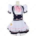 アリス風メイドコスチューム コスプレ 衣装 ピンクボタンやリボン ピンク蝶ネクタイ フリル ドレス