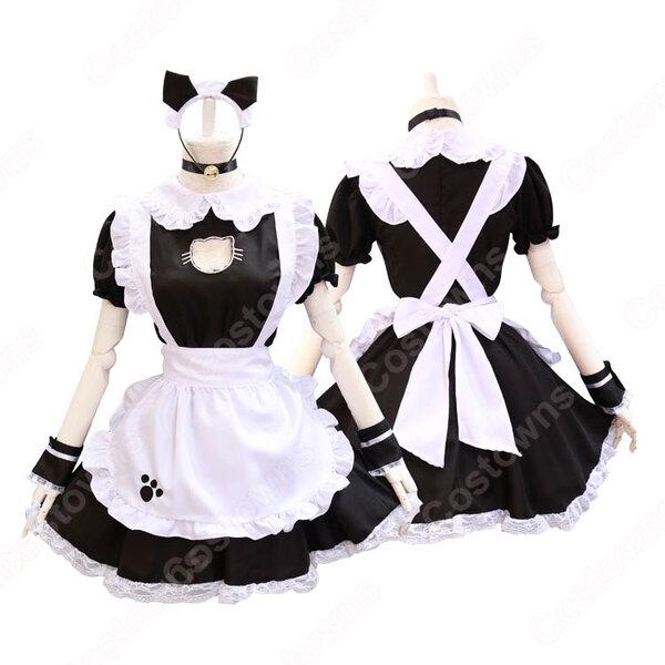 定番くろ猫メイド服 ワンピース カチューシャ チョーカーつき胸元も猫の形に開いており コスプレ 衣装 コスチューム元の画像