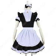 定番白黒メイド コスプレ コスチューム 可愛い かわいい 半袖 ゴスロリ ワンピース 4点セット
