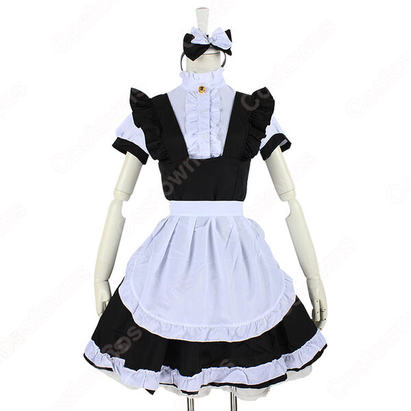 定番白黒メイド コスプレ コスチューム 可愛い かわいい 半袖 ゴスロリ ワンピース 4点セット元の画像