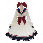 セーラー風 ロリータ (ロリィタ) ワンピース 腰の大きめな蝶結びもアクセントになります 長袖 レース 襟の飾り物