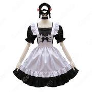 可愛い猫耳メイドな定番型メイド服 4点セット 半袖 ワンピース メイドコスチューム 黒ワンピース 白エプロン