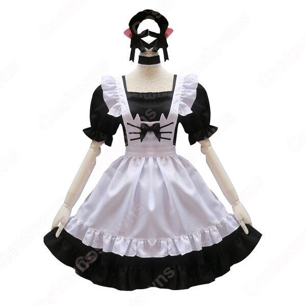 可愛い猫耳メイドな定番型メイド服 4点セット 半袖 ワンピース メイドコスチューム 黒ワンピース 白エプロン元の画像