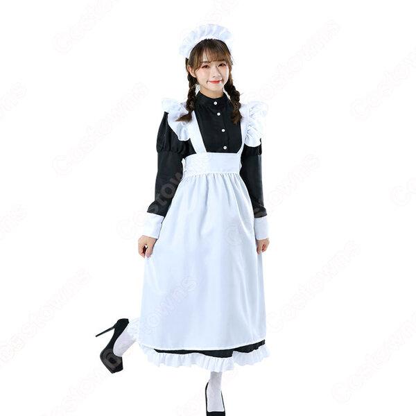 白黒ロング丈メイド服 長袖 こちら人気のメイドコスチューム 白エプロン 黒ワンピース ロング丈が新鮮です元の画像