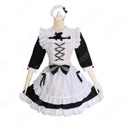 白黒 ロリータ メイド服 定番 メイド コスチューム lolita かわいい コスプレ コスチューム ワンピース