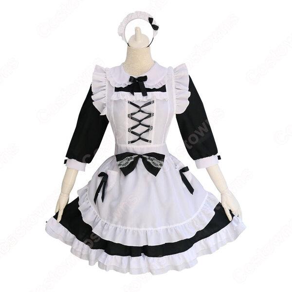白黒 ロリータ メイド服 定番 メイド コスチューム lolita かわいい コスプレ コスチューム ワンピース元の画像
