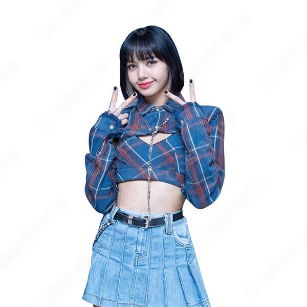BLACKPINK(ブラックピンク) リサ(LISA) 風 ダンス 衣装 へそ出し コスプレ 衣装 人気グループ アイドル制服 ステージ服元の画像