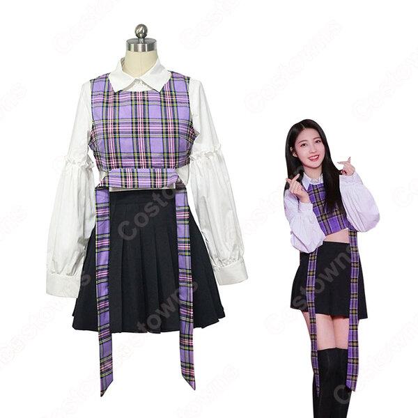 韓国 女性アイドルグループ EVERGLOW 制服 コスプレ衣装 エバーグロー 風 ジャズダンス 衣装 MVアイドル ダンス服元の画像