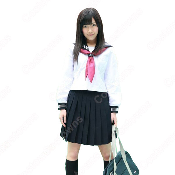 AKB48 渡辺麻友(わたなべまゆ)セーラー服 女子高生 女子制服 長袖 白 上下セット オーダメイド可元の画像