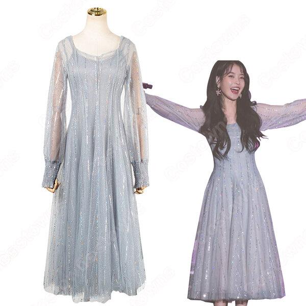 IU(アイユー) 風 ファッション パーティードレス 長袖 ハイウエスト ストライプ ワンピース元の画像