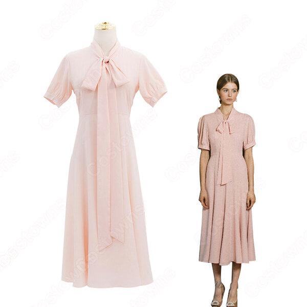 IU(アイユー)風 ワンピース ピンク 半袖 ドレス 『ホテルデルーナ(호텔 델루나、Hotel Del Luna)』 コスチューム 変装 コスプレ衣装元の画像