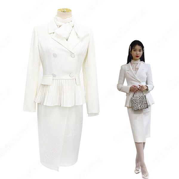 IU(アイユー)風 白のダブルブレストのペプラムスーツ 『ホテルデルーナ(호텔 델루나、Hotel Del Luna)』第1話 コスチューム 変装・仮装・コスプレ衣装元の画像