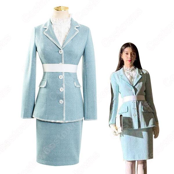 IU(アイユー)風 青スーツ コート スカート レースシャツ 『ホテルデルーナ(호텔 델루나、Hotel Del Luna)』 コスチューム 変装 コスプレ衣装元の画像