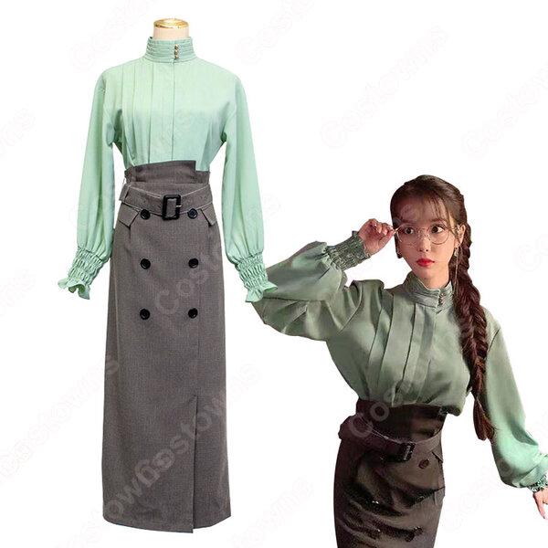 IU(アイユー)風 立ち襟 シャツ グレー ハイウエストスカート 『ホテルデルーナ(호텔 델루나、Hotel Del Luna)』 コスチューム 変装 コスプレ衣装元の画像