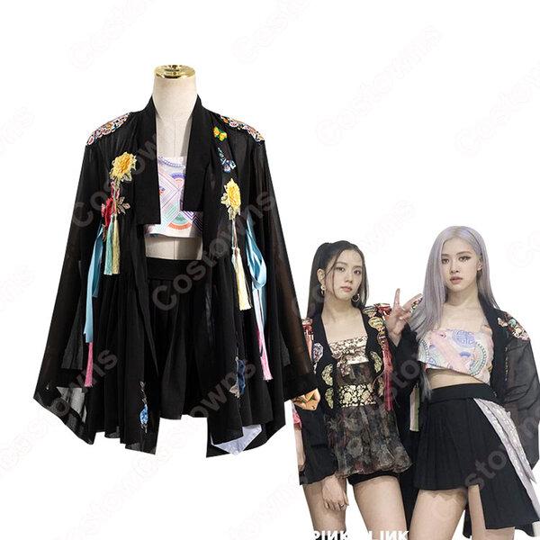 BLACKPINK(ブラックピンク) ロゼ(ROSÉ / パク・チェヨン)風 衣装 アイドル制服 黒 カーディガン ハイウエスト スカート元の画像