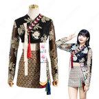 ブラックピンク(BLACKPINK) リサ(LISA)風 刺繍 ショート丈 トップス Aラインスカート レトロ韓服