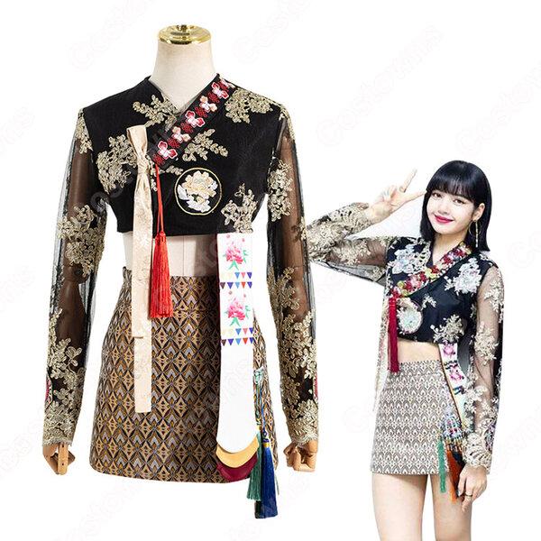 ブラックピンク(BLACKPINK) リサ(LISA)風 刺繍 ショート丈 トップス Aラインスカート レトロ韓服元の画像