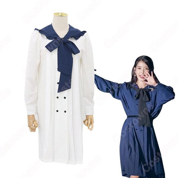 IU(アイユー)風 ルーズワンピース 長袖 可愛い蝶リボン アイドル 衣装元の画像